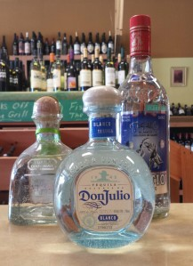 Blanco tequilas; these are clear because they are not oak aged.
