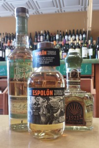 Reposado tequilas; note the pale yellow color.